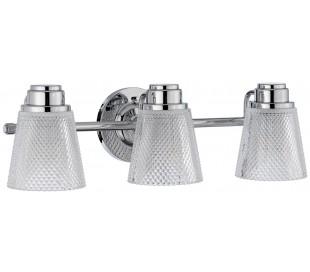 Hudson Badeværelseslampe i stål og glas B54,5 cm 3 x G9 LED - Poleret krom/Klar kantet