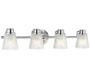 Hudson Badeværelseslampe i stål og glas B81,8 cm 4 x G9 LED - Poleret krom/Klar kantet