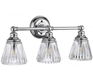 Keynes Badeværelseslampe i stål og glas B56 cm 3 x G9 LED - Poleret krom/Klar rillet