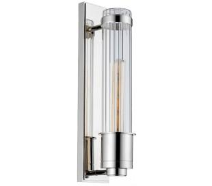 Wellington Badeværelseslampe i stål og glas H40 cm 1 x E27 Tube LED - Poleret krom/Klar rillet