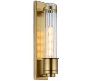 Wellington Badeværelseslampe i stål og glas H40 cm 1 x E27 Tube LED - Antik messing/Klar rillet