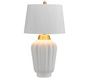 Bexley Bordlampe i keramik og tekstil H56 cm 1 x E27 - Hvid/Børstet messing