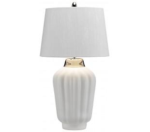 Bexley Bordlampe i keramik og tekstil H56 cm 1 x E27 - Hvid/Poleret nikkel