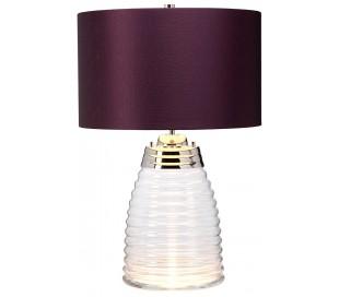 Milne Bordlampe i glas og tekstil H64 cm 1 x E27 - Let røget/Aubergine