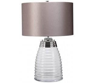 Milne Bordlampe i glas og tekstil H64 cm 1 x E27 - Let røget/Grå