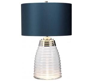 Milne Bordlampe i glas og tekstil H64 cm 1 x E27 - Let røget/Teal