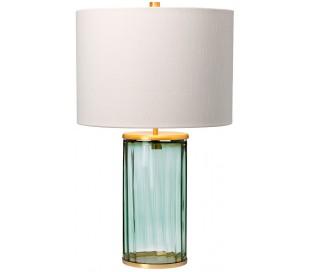 Reno Bordlampe i glas og tekstil H60 cm 1 x E27 - Grøn/Aldret messing/Creme