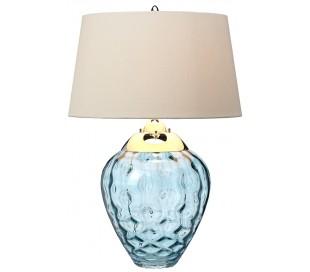 Samara Bordlampe i glas og tekstil H71 cm 1 x E27 + 1 x GU10 LED - Blå/Taupe