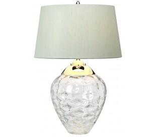 Samara Bordlampe i glas og tekstil H71 cm 1 x E27 + 1 x GU10 LED - Let røget/Chateau duck egg