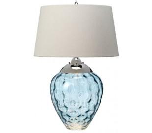 Samara Bordlampe i glas og tekstil H79 cm 1 x E27 + 1 x GU10 LED - Blå/Taupe