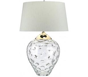 Samara Bordlampe i glas og tekstil H79 cm 1 x E27 + 1 x GU10 LED - Let røget/Chateau duck egg