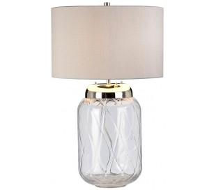 Sola Bordlampe i glas og tekstil H68 cm 1 x E27 + 1 x GU10 LED - Klar/Sølvgrå