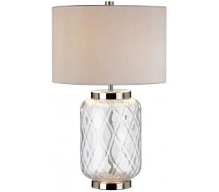 Sola Bordlampe i glas og tekstil H51 cm 1 x E27 - Klar/Sølvgrå