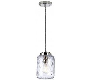 Sola Loftlampe i glas og stål H36 - 221 cm 1 x E27 - Poleret nikkel/Klar