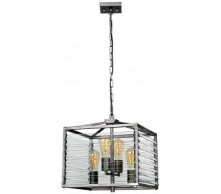 Louvre Loftlampe i glas og stål H49 - 202 cm 4 x E27 - Gun metal/Klar