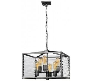Louvre Loftlampe i glas og stål H49 - 352 cm 6 x E27 - Gun metal/Klar