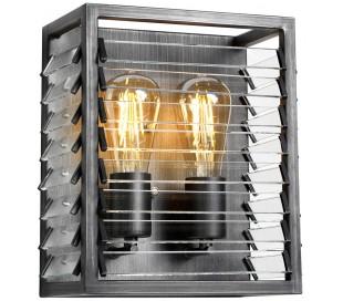 Louvre Væglampe i glas og stål H28,8 cm 2 x E27 - Gun metal/Klar