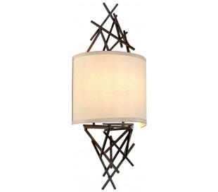Taiko Væglampe i stål og tekstil H60,2 cm 2 x E14 - Antik bronze/Natur