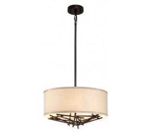 Taiko Loftlampe i stål og tekstil Ø40 cm 3 x E27 - Antik bronze/Natur