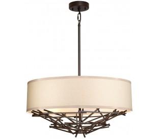 Taiko Loftlampe i stål og tekstil Ø55 cm 4 x E27 - Antik bronze/Natur