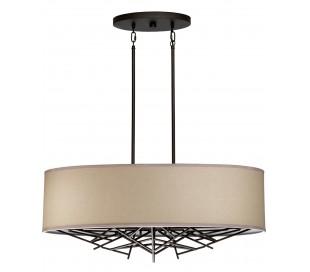 Taiko Loftlampe i stål og tekstil Ø80 x 31 cm 5 x E27 - Antik bronze/Natur