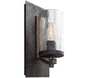 Angelo Væglampe i stål og glas H33 cm 1 x E27 - Antik egetræ/Antik gråsort