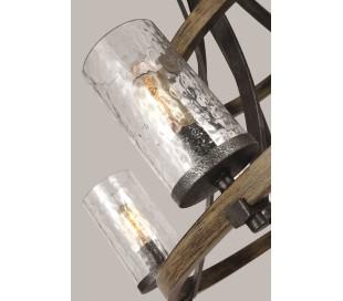 Angelo Lysekrone i stål, egetræ og glas Ø83 cm 9 x E27 - Antik egetræ/Antik gråsort