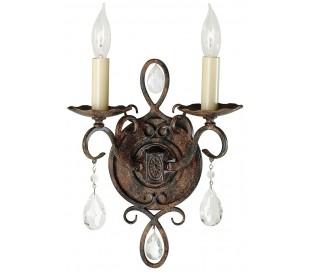 Chateau Væglampe i stål og glas H30 cm 2 x E14 - Antik bronze/Creme