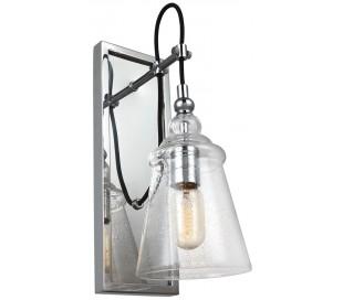 Loras Væglampe i stål og glas H44 cm 1 x E27 - Poleret krom/Klar med dråbeeffekt