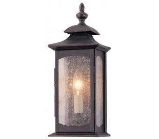 Market Square Væglampe i stål og glas H35,6 cm 1 x E14 - Antik bronze/Klar med dråbeeffekt