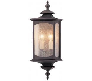 Market Square Væglampe i stål og glas H48,3 cm 2 x E14 - Antik bronze/Klar med dråbeeffekt