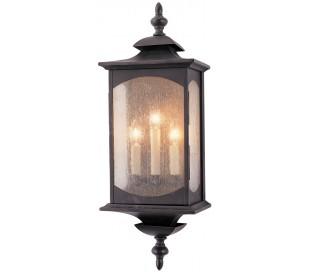 Market Square Væglampe i stål og glas H63,8 cm 3 x E14 - Antik bronze/Klar med dråbeeffekt