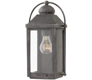 Anchorage Væglampe i stål og glas H33,5 cm 1 x E14 - Antik zinkgrå/Klar