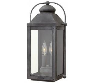 Anchorage Væglampe i stål og glas H45,1 cm 2 x E14 - Antik zinkgrå/Klar