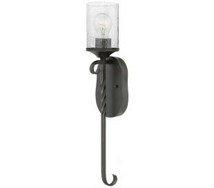 Casa Væglampe i stål og glas H58,6 cm 1 x E27 - Antik sort/Klar med dråbeeffekt