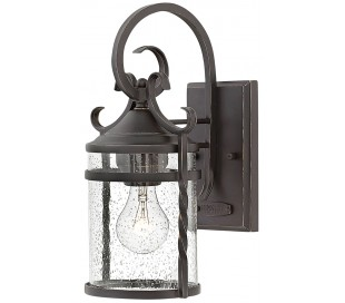 Casa Væglampe i stål og glas H33 cm 1 x E27 - Antik sort/Klar med dråbeeffekt