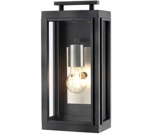 Sutcliffe Væglampe i stål og glas H35,5 cm 1 x E27 - Aldret zink/Antik nikkel/Klar
