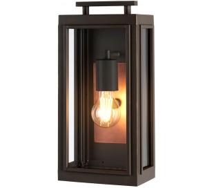 Sutcliffe Væglampe i stål og glas H35,5 cm 1 x E27 - Aldret bronze/Antik kobber/Klar