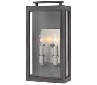 Sutcliffe Væglampe i stål og glas H43,1 cm 2 x E14 - Aldret zink/Antik nikkel/Klar