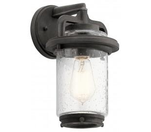 Andover Væglampe i stål og glas H29,2 cm 1 x E27 - Aldret zink/Klar med dråbeeffekt