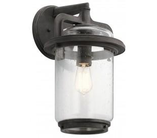 Andover Væglampe i stål og glas H43,7 cm 1 x E27 - Aldret zink/Klar med dråbeeffekt
