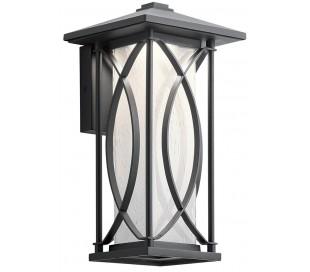 Ashbern Væglampe i stål og glas H32,3 cm 1 x E27 - Sort/Mælkehvid med dråbeeffekt