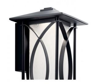 Ashbern Væglampe i stål og glas H37,9 cm 1 x E27 - Sort/Mælkehvid med dråbeeffekt