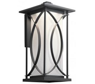Ashbern Væglampe i stål og glas H46,4 cm 1 x E27 - Sort/Mælkehvid med dråbeeffekt