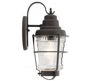 Chance Harbor Væglampe i stål og glas H36,8 cm 1 x E27 - Aldret zink/Klar rillet