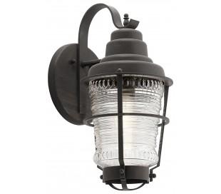 Chance Harbor Væglampe i stål og glas H45,7 cm 1 x E27 - Aldret zink/Klar rillet