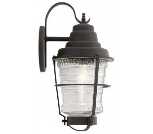 Chance Harbor Væglampe i stål og glas H55,1 cm 1 x E27 - Aldret zink/Klar rillet