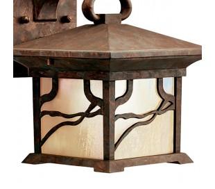 Morris Væglampe i stål og glas H23,7 cm 1 x E27 - Aldret kobber/Olieret glas