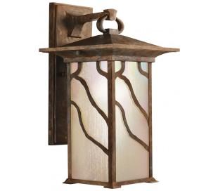 Morris Væglampe i stål og glas H38,6 cm 1 x E27 - Aldret kobber/Olieret glas