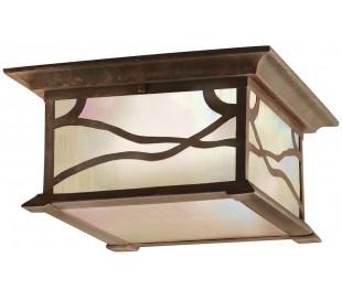 Morris Loftlampe i stål og glas 29,8 x 29,8 cm 2 x E27 - Aldret kobber/Olieret glas